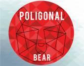Poligonal bear illustration over geometric  texture background — Vettoriale Stock