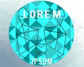 Poligonal bear illustration over geometric  texture background — Stock vektor