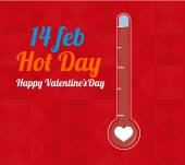 14 february illustration, love and thermometer over color backgr — Stockvektor