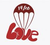 14 february illustration, love and parachute over color backgrou — Stockvektor