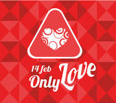 14 february illustration, love text and heart label over geometr — Stockvektor