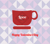 Happy valentine  illustration, coffee cup  over  geometric textu — Stock Vector