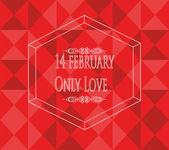 14 february illustration, love text and geometric texture  backg — Stockvector
