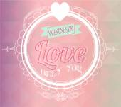 Valentine day illustration, love text  and labels retro over geo — Vector de stock