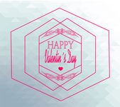Happy valentine day illustration, hexagon and labels retro over — Stock Vector
