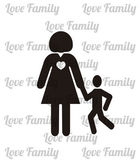 Parents and children illustration, mother and son over white col — Stock Vector