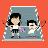 Mom playing tennis with his son on color background — Stock Vector