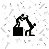 Workers running a big wrench — Stockvector