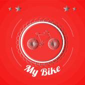Metallic  Bicycle, vintage stamp illustration over red  color ba — Vetorial Stock