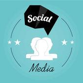 Social media illustration, head persons and bubble talk geometri — Vector de stock