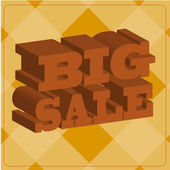 Big sale, text in three-dimensional over orange color background — Stock Vector