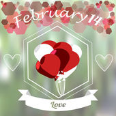 Valentines day, red and white balloons  overgreen color blur bac — Vector de stock
