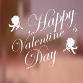 Valentines day, cupids and love text  over blur background — Stock Vector