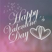 Día de San Valentín, el texto de blanco amor y corazones sobre fondo blur — Vector de stock