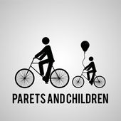 Dad  and son bicycling over gray color background — Stock Vector