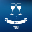 Two cups text i love you over blue background — Stock Vector #64070643