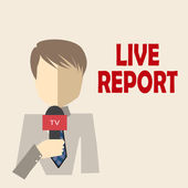 Journalist live and direct — Stock Vector