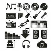 Icons music set in black color over white color background — Stock Vector