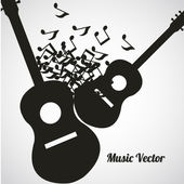 Black guitars and musical notes floating — Stock Vector