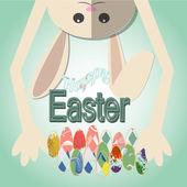 Easter rabbit hanging over easter eggs on background degraded — Stock Vector