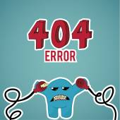 Error 404, monster angry with disconnected cables on blue color — Stock Vector