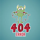 Error 404, sad monster disconnect cables over blue color backgro — Stock Vector