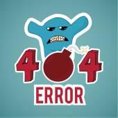 Erro 404, monstro e explosivo texto sobre fundo de cor azul — Vetor de Stock