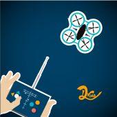 Vier-Helix-Drohne gesteuert von einer Tablette auf farbigem Hintergrund — Stockvektor