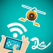 Tabletka drone kontroli nad niebieskim tle — Wektor stockowy