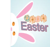 Easter Bunny appears next on blue background — Stock Vector