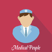 Medical people, man with brown  hair — Stock Vector