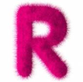 Pink shag R letter isolated on white background — Stock Photo