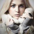 Young beautiful woman with fur. winter style.pretty girl. Beauty blond Model Girl in Mink Fur Coat.shellac manicure.pink lipstick.cosmetic make-up.lady.blue eyes — Stock Photo #53144669