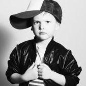 Monochrome portrait of Fashionable Child.stylish little boy in tracker Cap.fashion children — 图库照片