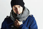 Fashionable Handsome Man in Scurf. Stylish European Boy with Blue Eyes. Casual Winter Fashion — Stock Photo