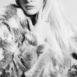 Monochrome portrait of Beautiful blond woman in fur.winter fashion. Beauty girl in fur — Stock Photo #61407213