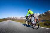 Biking in Norway against picturesque landscape — Stock Photo
