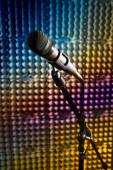Modern microphone in the recording studio — Stock Photo