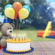 Toy Bear Celebrating its Birthday — Stock Photo #59362419