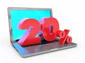 20 percent discount - Laptop and discounts in Internet — Stock Photo