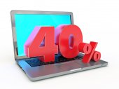 40 percent discount - Laptop and discounts in Internet — 图库照片