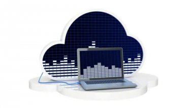 Computer connected to music cloud server, Cloud music concept — Stock Video