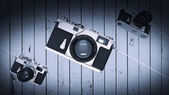 Silver photo camera. Vintage. High resolution 3d — Stock Photo