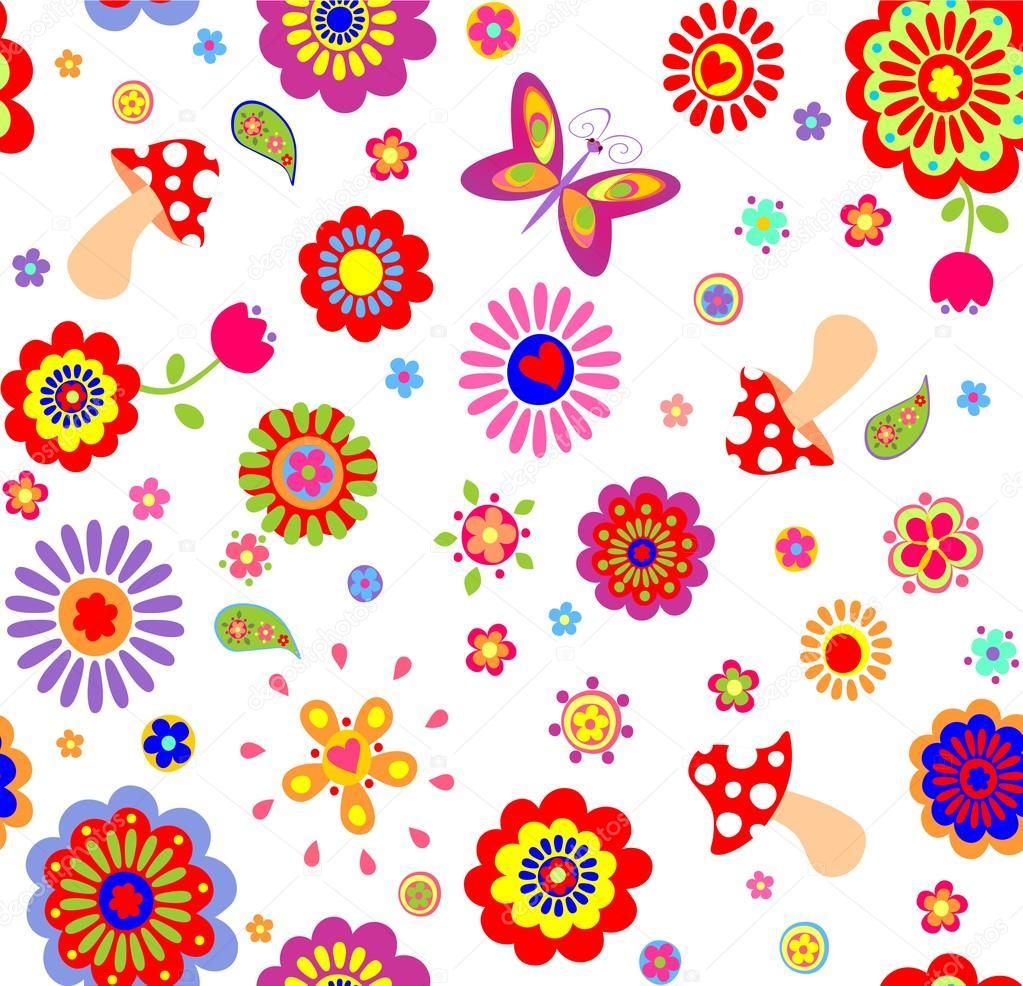 Papel de parede infantil com flores coloridas abstratas e cogumelos vetor de stock - Papel para pared infantil ...