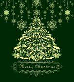 Vintage christmas green greeting — Vecteur
