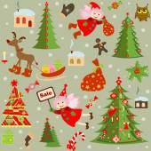 Papel pintado retro xmas — Vector de stock