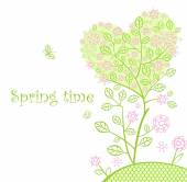 Beautiful spring lacy tree — Stock Vector
