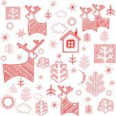 Winter wallpaper with red print — Stok Vektör