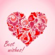 Valentines day card with abstract red heart — Stock Vector #56995757