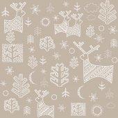 Winter pastel wallpaper with reindeer and fir — Stock Vector
